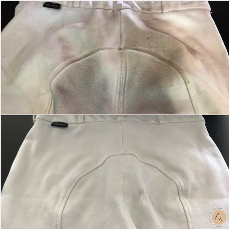 pantalon blanc d'équitation avant après lavage naturel